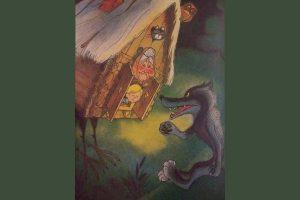 Kuvitusta Eduard Uspenskin kirjasta Alas taikavirtaa, kuvassa noidan kananjalkainen mökki ja susi.