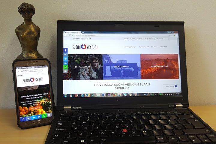 Suomi-Venäjä-Seuran kotisivuja voi selata niin tietokoneella kuin kännykällä.